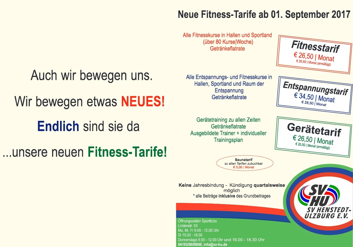 neue fitness tarife sportverein henstedt ulzburg e v. Black Bedroom Furniture Sets. Home Design Ideas